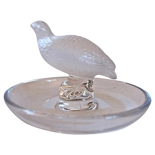 Lalique French Crystal Dove Ring Holder