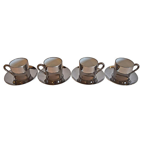 Georg Jensen Demi Cups & Saucers, 8-Pcs
