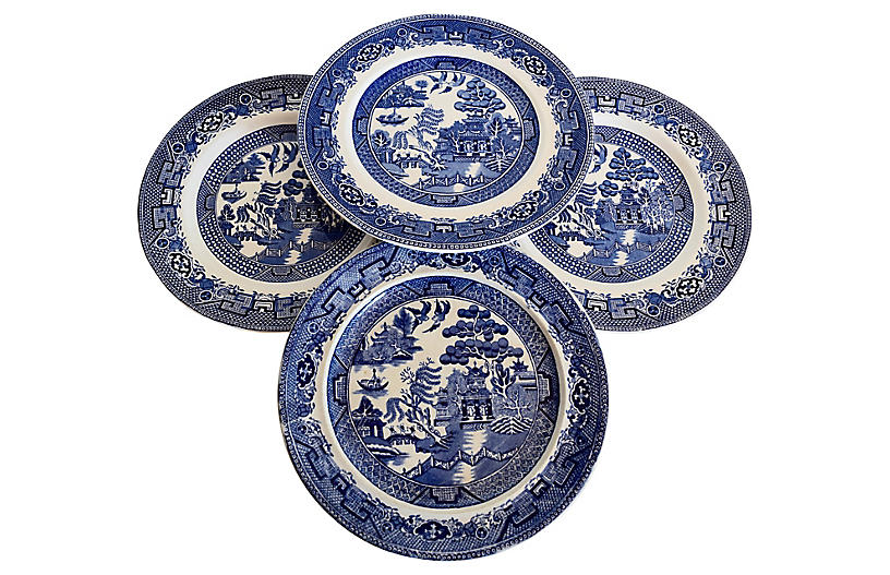 Old Willow Plates, S/4