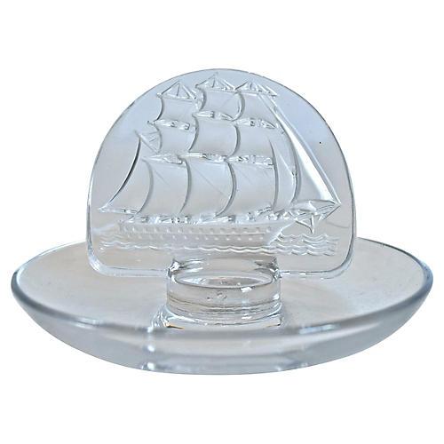 Lalique Crystal Ship Ring Holder