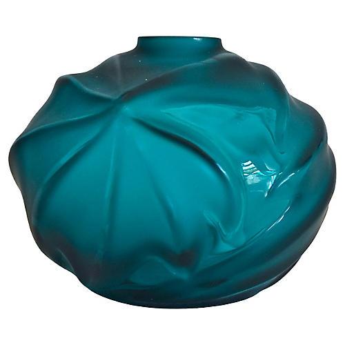 Lalique Turquoise Royal Palm Vase w/ Box