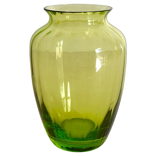 Baccarat Green Crystal Ribbed Bud Vase