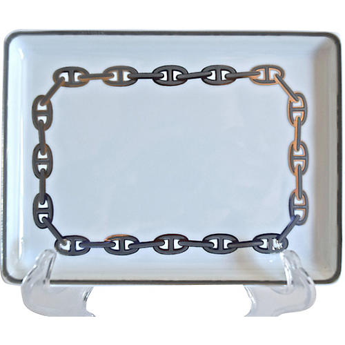 Hermès Chaine d'Ancre Silver Tray w/Box