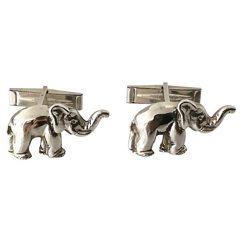 Sterling Silver Elephant Cuff Links