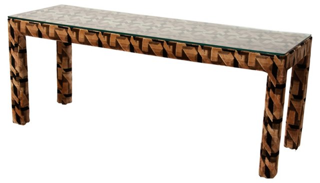Upholstered Console Table w/ Glass Top