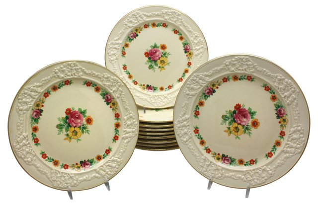Adams Creamware Dessert Plates, S/11