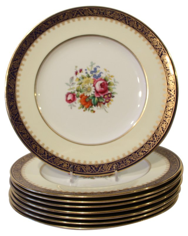 8 Hand Painted Dinner Plates Cobalt/Gold