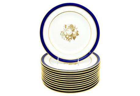 Cobalt Spode Tiffany Dessert Plates S/12
