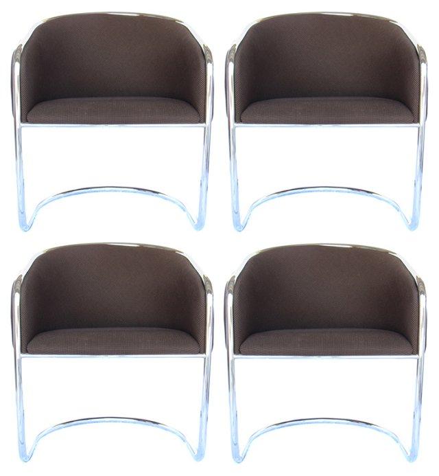 Thonet Chrome Tub Chairs, S/4