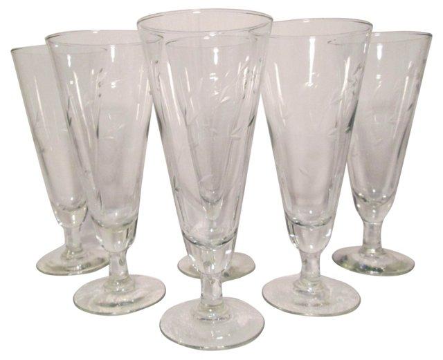 Crystal Pilsner Glasses, S/6