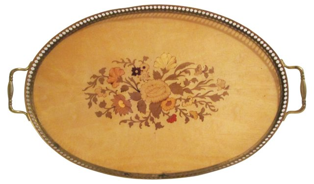 Italian Inlaid Wood Floral Tray