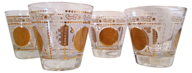 Gold Medallion Whiskey Glasses, S/4