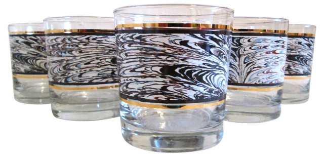Abstract Blue & Gold Glasses, S/6