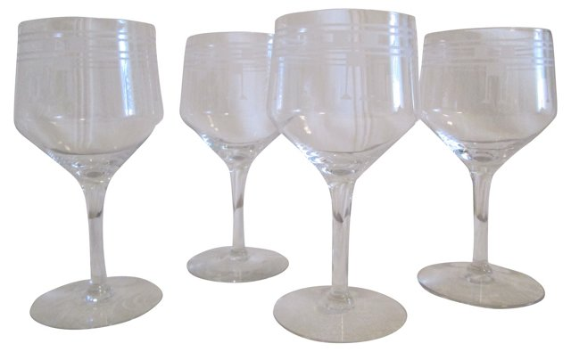 Art Deco-Style Wine Glasses, S/4