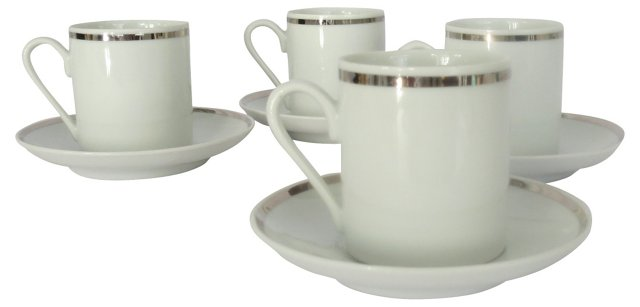 Espresso Cups & Saucers, Svc. for 4