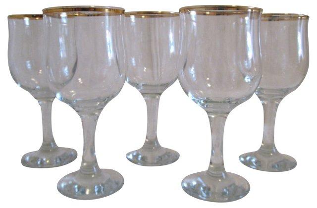 Classic Gold-Rimmed Wine Glasses, S/5