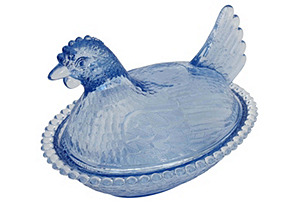 Blue Glass Hen Dish