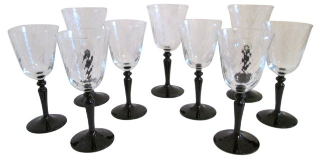 French Black-Stemmed Wine Glasses, S/9
