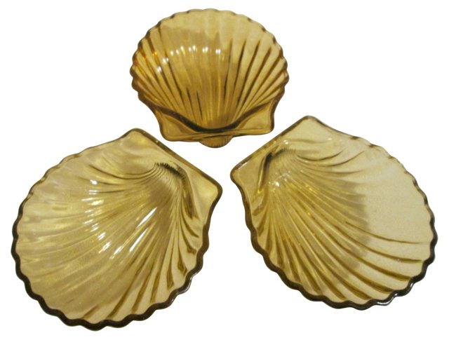 Amber Glass Shell Relish  Dishes, S/3