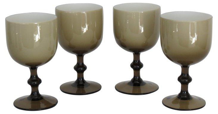 Carlos Moretti Murano Wine Glasses, S/4