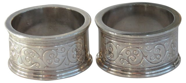 Engraved Silver Napkin Rings, Pair