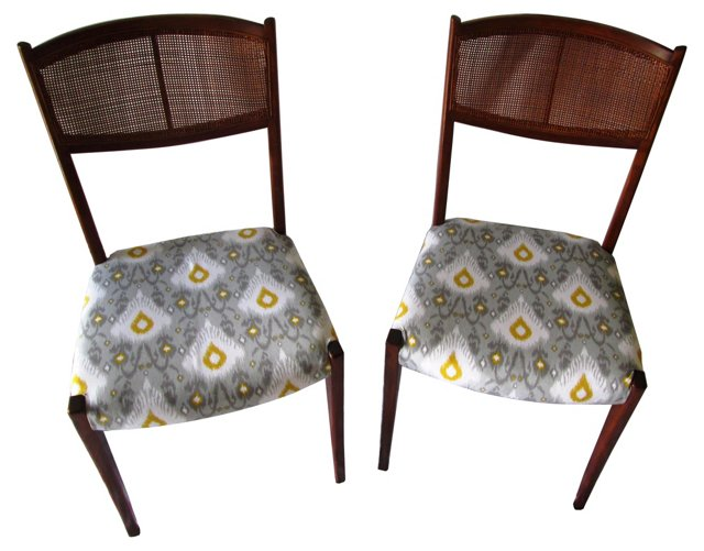Midcentury  Cane-Back Chairs, Pair