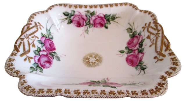 19th-C. Limoges Floral Serving Bowl