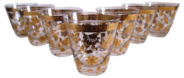 22K Gold Chantilly Glasses, S/7