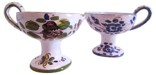 Italian Pottery Candleholders, Pair