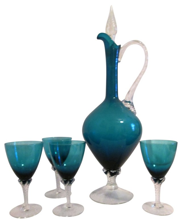 Sapphire Glass Decanter w/ 4 Glasses