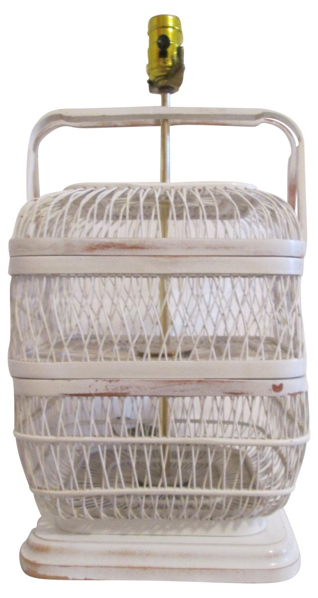 Distressed White Wicker Basket Lamp