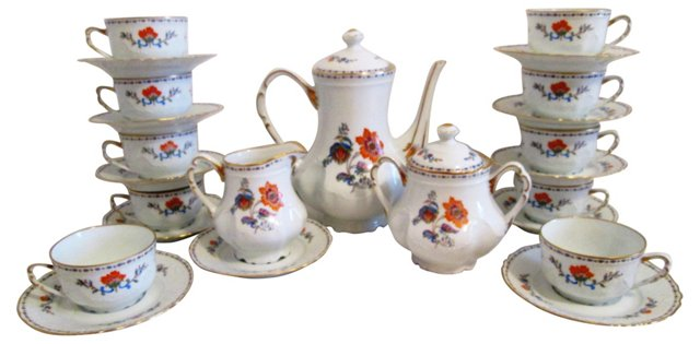 Limoges Floral Coffee Set, Svc. for 10