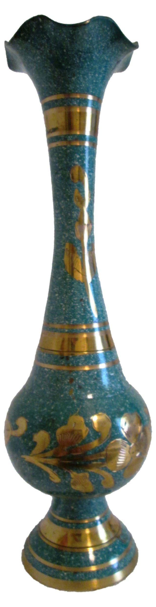 Aqua & Brass Indian Vase