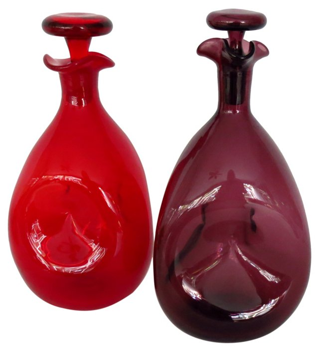 Pinched Handblown Decanters, Pair