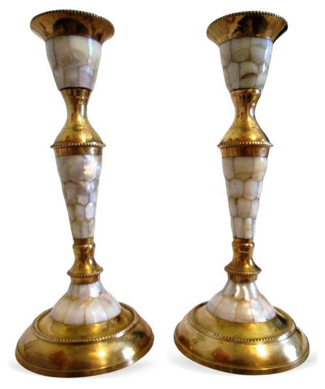 Mother-of-Pearl Candleholders,  Pair