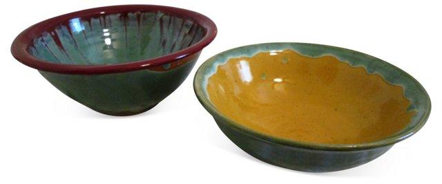 Glazed Studio Pottery Bowls, Pair