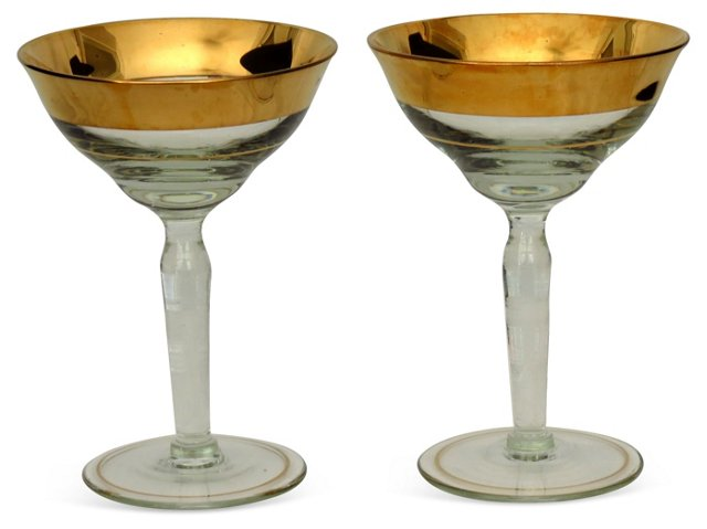 Gold Gilt Champagne Coupes, Pair