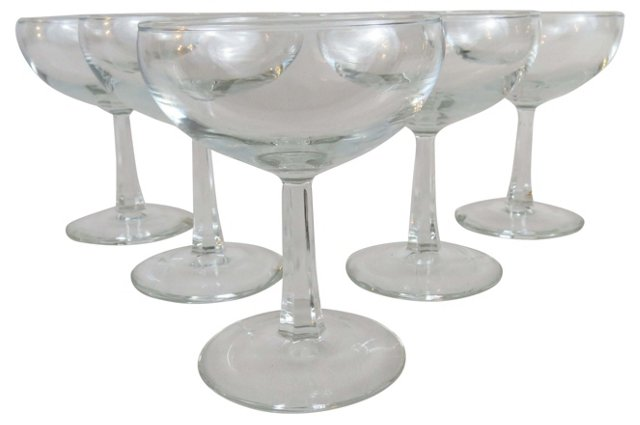 French Champagne Glasses, S/5