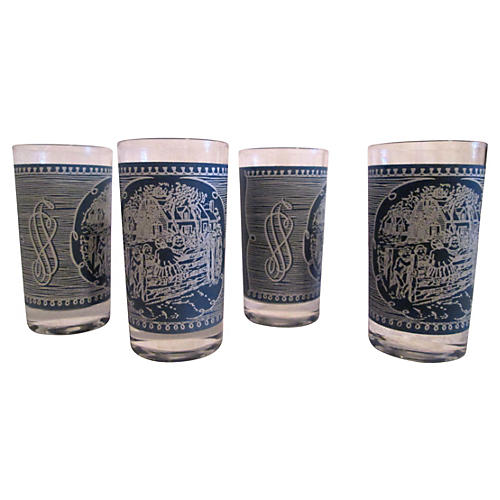 Wedgwood-Blue Cottage Tumblers, S/4