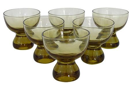 Amber Whiskey Glasses, S/6