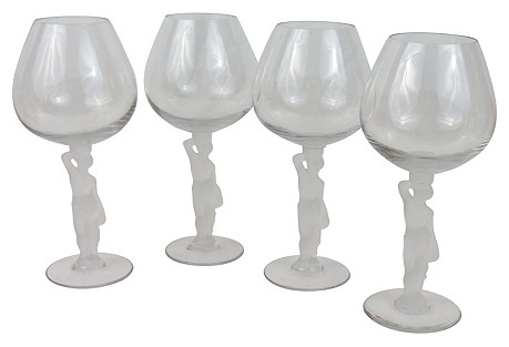 French Bacchus Brandy Glasses, S/4