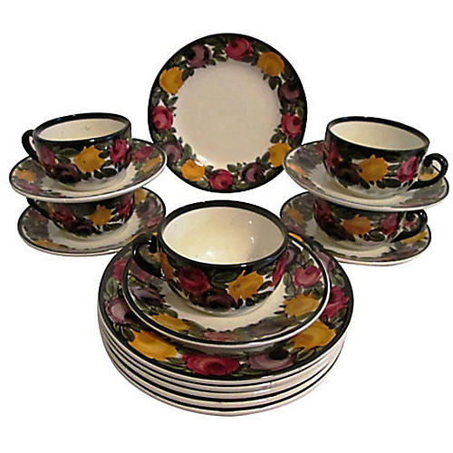 1940s German Pottery Dessert Set, 16 Pcs