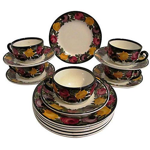 1940s German Pottery Dessert Set, 16 Pcs