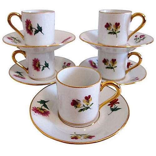 French Floral Demitasse Cups, Svc. for 5