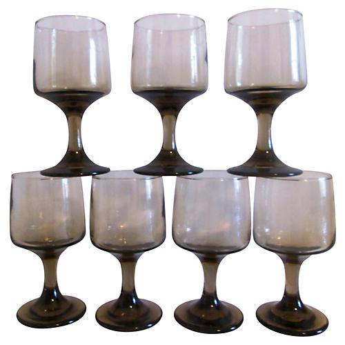 Tawny-Smoke Wineglasses, S/7