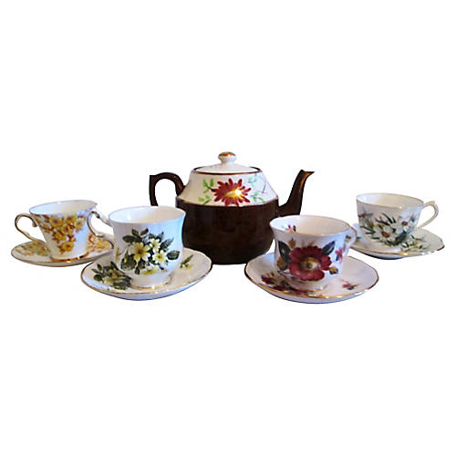 English Floral Tea Set, 9 Pcs