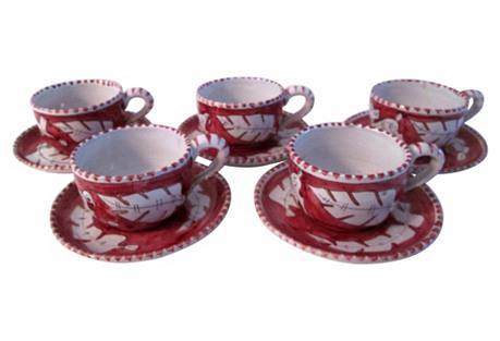 Italian Giordano Cups & Saucers, 10-Pcs