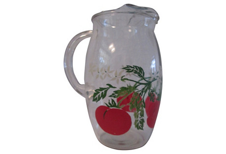 1950s Tomatoe Juice Glass Pitcher