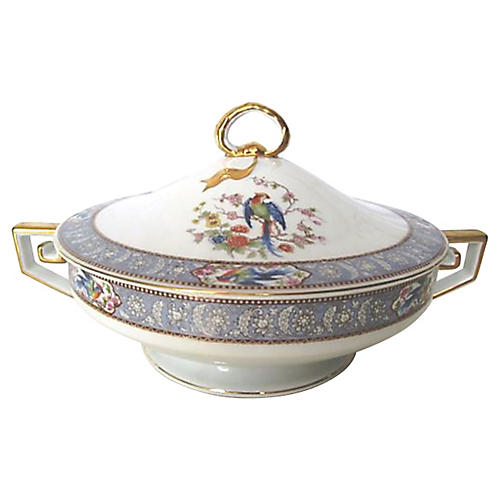 Blue Pheasant Greek Key Serving Bowl