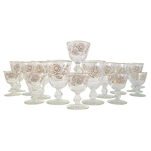 White Rose Garden Glasses, S/14
